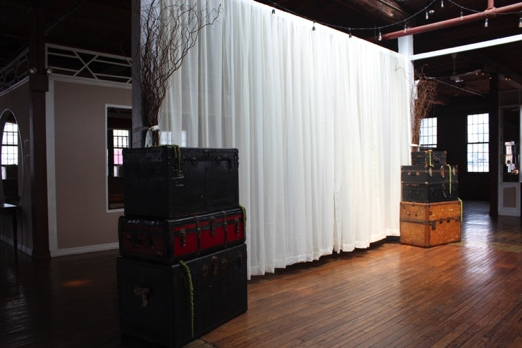 ceremony fabric wedding backdrop curly willow branches metropolitan building