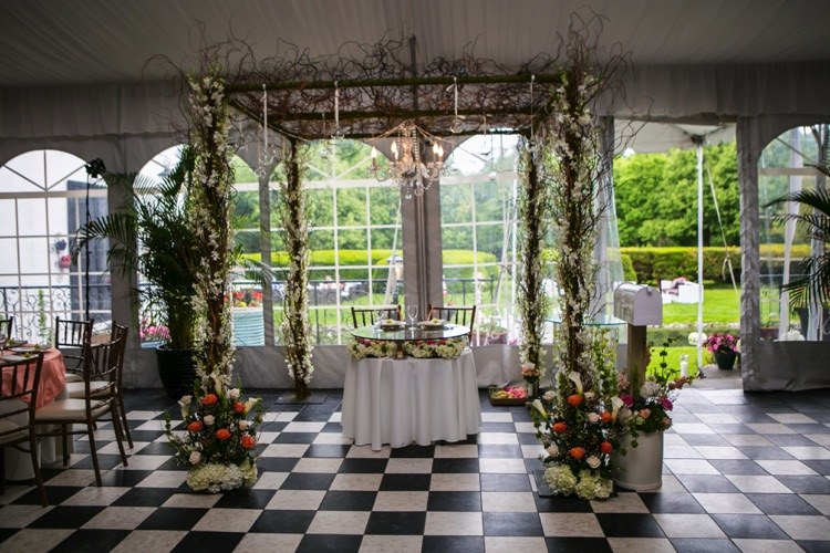 chelsea mansion reception flower canopy with crystal chandelier