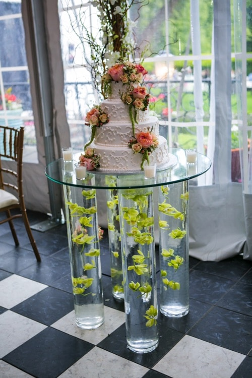 chelsea mansion wedding glass cake table