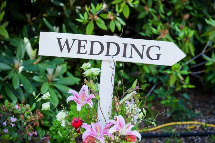 chelsea mansion wooden wedding directional sign