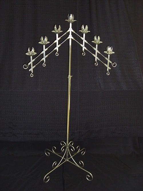 silver gold 7 tier floor candelabra