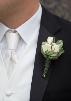 boutonniere, white spray roses, succulent, long island wedding, groom boutonniere