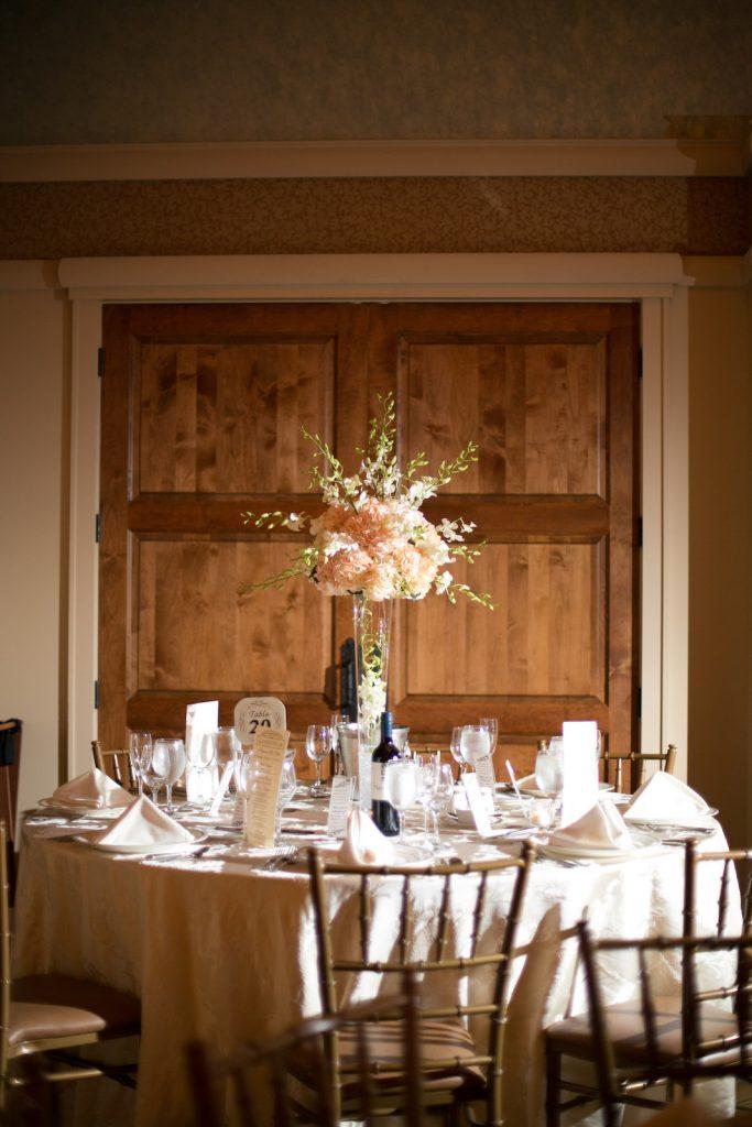 high flower centerpiece, hydrangeas, roses, trumpet vase, long island weddings, orchids, the larkfield