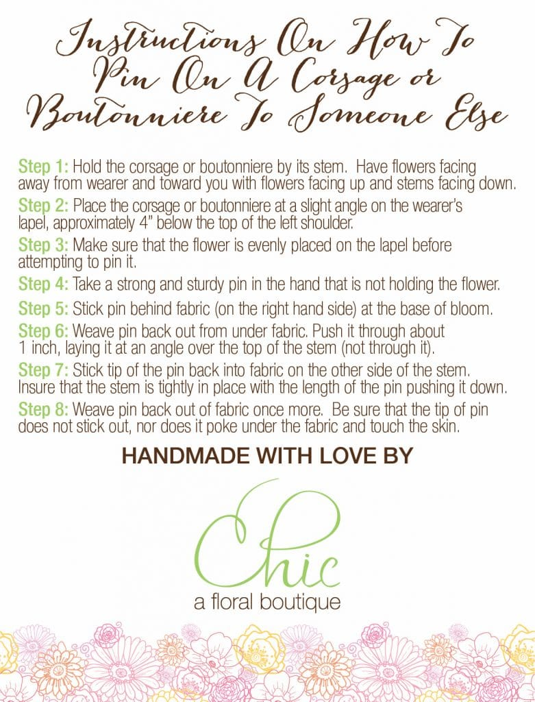 instructions, pin on a corsage, pin on a boutonniere, wedding flowers, long island wedding flowers