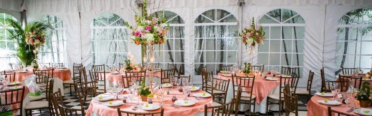 high floral centerpieces. green, pink, white flowers, long island tent wedding, chelsea mansion, kristin tudor, fernando da silva